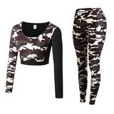 Camouflage Fitness Yoga Workout Set Crop Top Long Sleeve Shirt + Legging