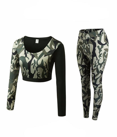 Camouflage Fitness Yoga Workout Set Crop Top Long Sleeve Shirt + Legging-women fitness-wanahavit-Green Camou-S-wanahavit