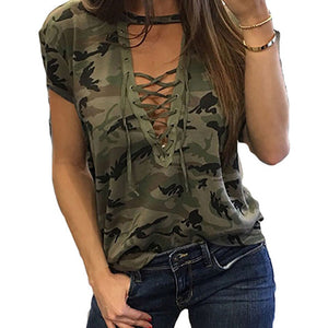 Lace Up Deep V-Neck Short Sleeve Camouflage Tees-women-wanahavit-Green-M-wanahavit