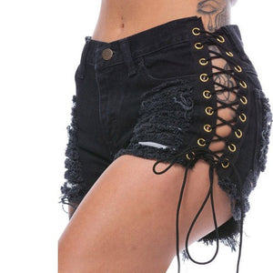 Summer Solid Lacing Ripped Denim Shorts-women-wanahavit-L-wanahavit