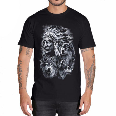 Indian & Wolf Print Casual T Shirt