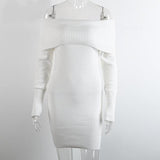 Winter Off Shoulder Knitted Bodycon Dress-women-wanahavit-White-One Size-wanahavit