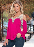 Sexy Floral Lace Off Shoulder Loose Long Sleeve-women-wanahavit-rose red-S-wanahavit
