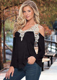 Sexy Floral Lace Off Shoulder Loose Long Sleeve-women-wanahavit-black-S-wanahavit