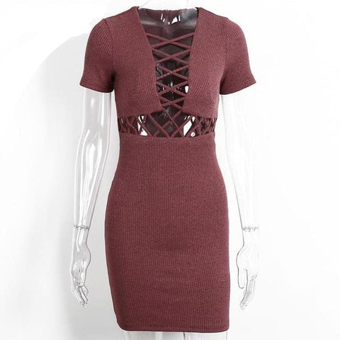 Knitted Sexy Lace Up Bodycon Dress-women-wanahavit-Red-S-wanahavit