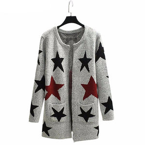 Star Printed Knitted Warm Long Cardigan-women-wanahavit-stars-One Size-wanahavit