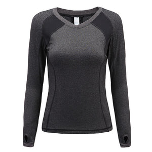 Quick Dry Curve Emphasizing Printed Yoga Long Sleeve Shirt-women fitness-wanahavit-grey-XS-wanahavit