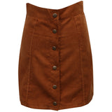 Solid Stretch Waist Plain Faux Suede Flared Mini Skirt-women-wanahavit-S-wanahavit