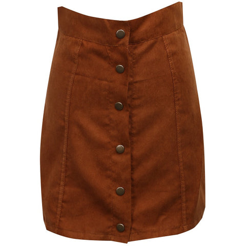 Solid Stretch Waist Plain Faux Suede Flared Mini Skirt
