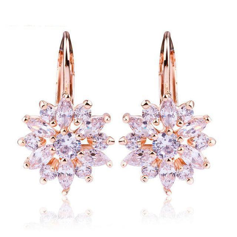 3 Colors Luxury Gold Color Flower Stud Earring