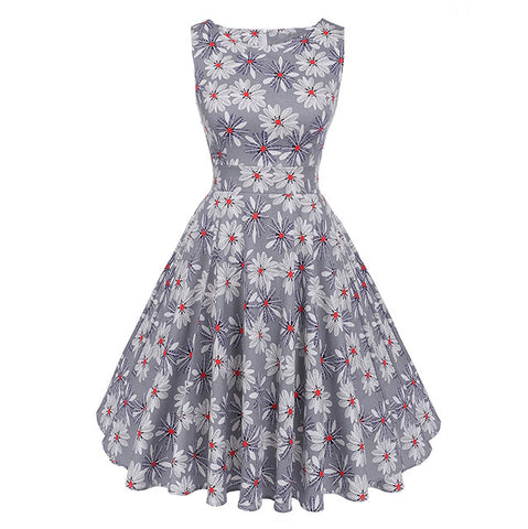 Floral VIntage Tank Dress with Belt-women-wanahavit-982 Gray-S-wanahavit