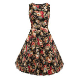 Floral VIntage Tank Dress with Belt-women-wanahavit-976 Black-S-wanahavit
