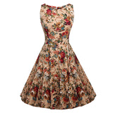 Floral VIntage Tank Dress with Belt-women-wanahavit-976 Apricot-S-wanahavit