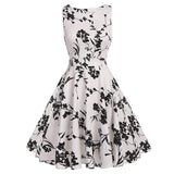 Floral VIntage Tank Dress with Belt-women-wanahavit-995 white-S-wanahavit