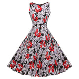 Floral VIntage Tank Dress with Belt-women-wanahavit-979 Red-S-wanahavit