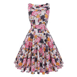 Floral VIntage Tank Dress with Belt-women-wanahavit-983 Peony-S-wanahavit