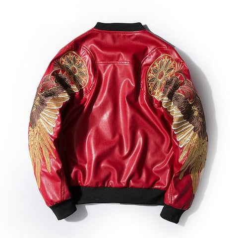 Embroidery Gold Wings PU Leather Stand Collar Jacket-unisex-wanahavit-red-S-wanahavit