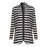 High Quality Autumn Striped Printed Elbow Patch Knitted Cardigan-women-wanahavit-Black-S-wanahavit