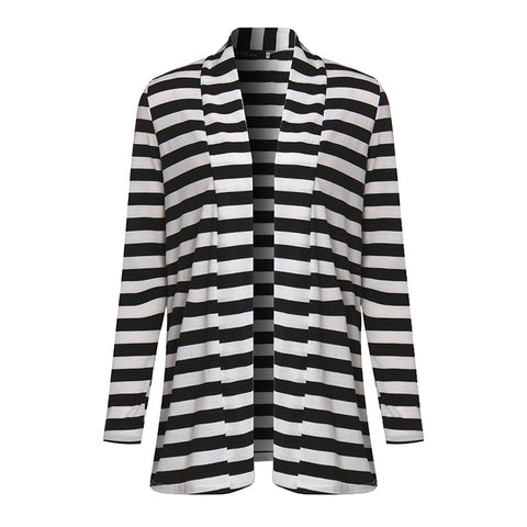 High Quality Autumn Striped Printed Elbow Patch Knitted Cardigan
