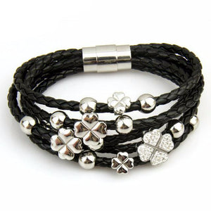 Rose Gold Color Leaf Clover Crystal Charm Leather Bracelet-women-wanahavit-Black & SIlver-wanahavit