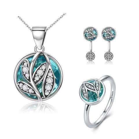 925 Sterling Silver Green Tree of Life Jewelry Set