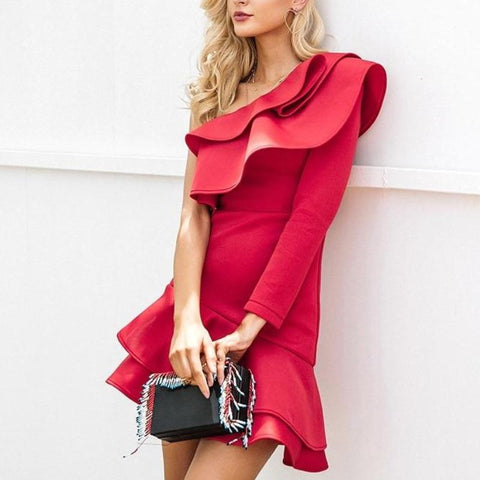 One Shoulder Ruffle Bodycon Elegant Party Dress-women-wanahavit-Red-S-wanahavit
