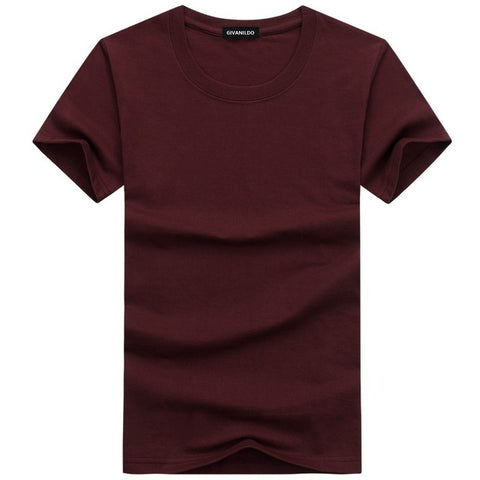 Short Sleeve Plain Solid Cotton Tees-unisex-wanahavit-Wine Red-S-wanahavit