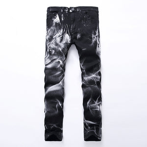 Wolf Head Print Biker Skinny Jeans Pants-men-wanahavit-Black-28-wanahavit