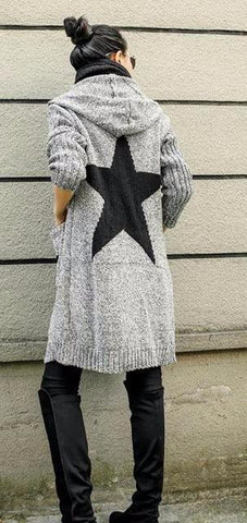Thick Winter Knitted Star Cardigan Coat-women-Light Gray Big Star-One Size-wanahavit