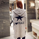 Thick Winter Knitted Star Cardigan Coat-women-Light Gray Star-One Size-wanahavit