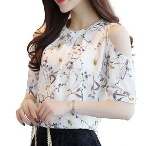 Elegant Chiffon Floral Print Open Shoulder Blouse-women-wanahavit-White-S-wanahavit
