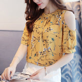 Elegant Chiffon Floral Print Open Shoulder Blouse-women-wanahavit-Yellow-S-wanahavit