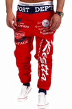 Words Printed Streetwear Jogger Pants-men-wanahavit-Red and Black pants-M-wanahavit