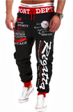 Words Printed Streetwear Jogger Pants-men-wanahavit-Black and Red pants-M-wanahavit