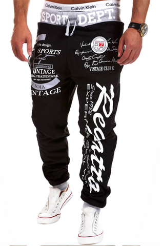 Words Printed Streetwear Jogger Pants-men-wanahavit-Black and Gray pants-M-wanahavit
