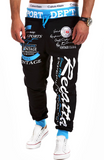 Words Printed Streetwear Jogger Pants-men-wanahavit-Black and Blue pants-M-wanahavit