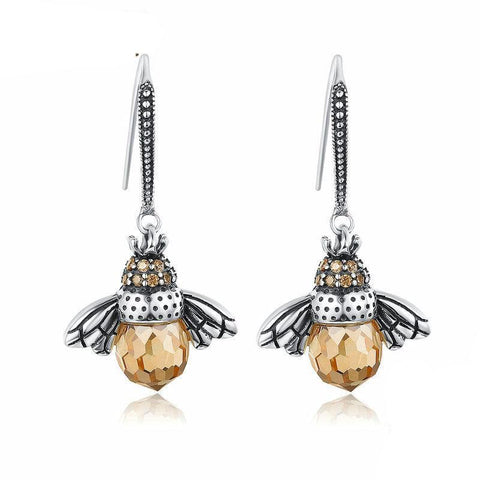 925 Sterling Silver Lovely Orange Bee Earring