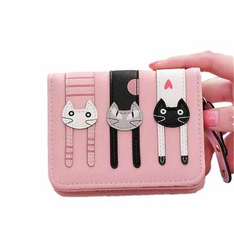 Cute PU Leather Hasp Cartoon Cat Purse