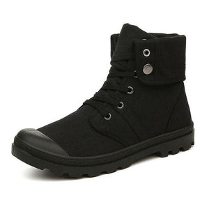 Autumn Winter Army Combat Style Ankle Canvas Boots-men-wanahavit-All Black Boots-7-wanahavit
