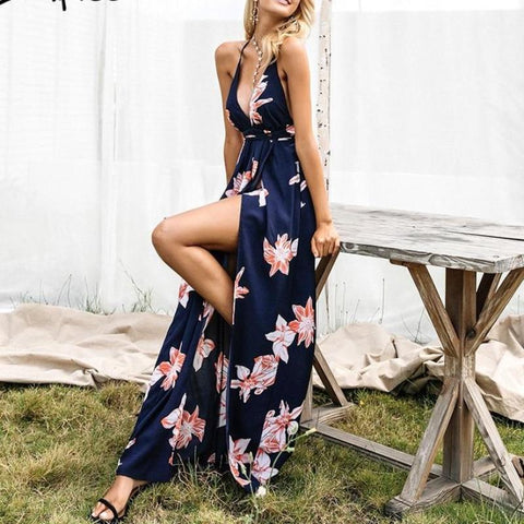 Boho Deep V Neck Backless Sexy Dress-women-wanahavit-Print-S-wanahavit