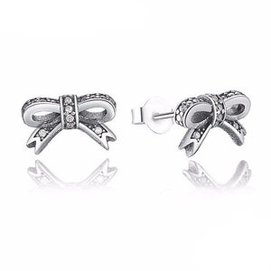 925 Sterling Silver Sparkling Bow Knot Earring-women-wanahavit-wanahavit