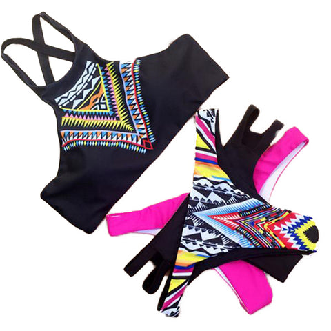 Geometric Printed High Neck Low Waist Bikini