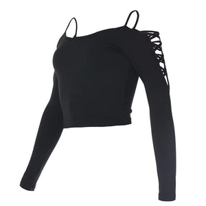 Strapless Crisscross Shoulder Long Sleeve Workout Shirt-women fashion & fitness-wanahavit-Black-S-wanahavit