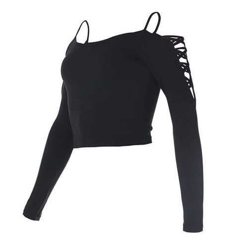 Strapless Crisscross Shoulder Long Sleeve Workout Shirt