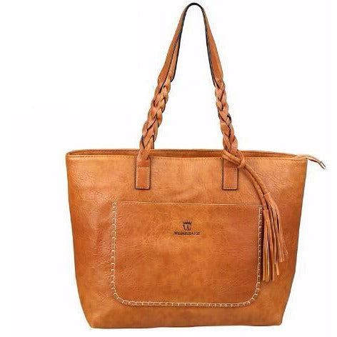 Leather Tassel Shopper Designer Tote Bag-women-wanahavit-Light Brown-wanahavit