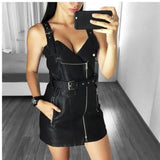 PU Leather Women Dress Bodycon Sexy Dress-women-wanahavit-Black-S-wanahavit