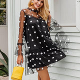 Polka Dot Mesh Mini Sexy Flare Sleeve Dress-women-wanahavit-Black-S-wanahavit
