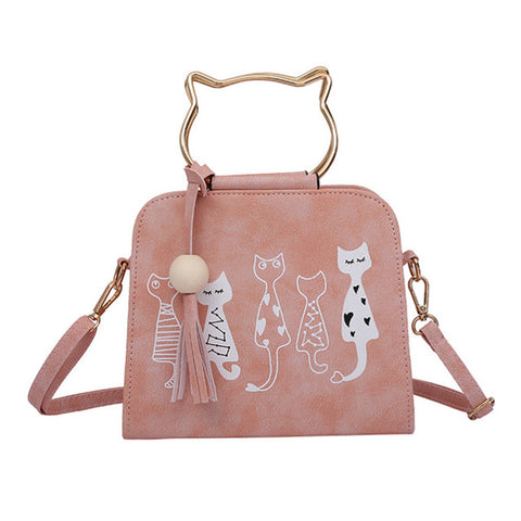 Animal Messenger Cat Pattern Shoulder Bag-women-wanahavit-Pink-wanahavit