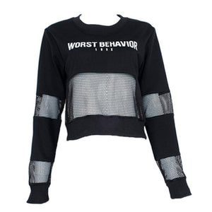 Casual Cropped Mesh Long Sleeve-women-wanahavit-Black-L-wanahavit