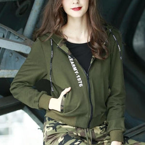 Knitted Military Contrasting Color Hooded Jacket-women-wanahavit-army green-S-wanahavit